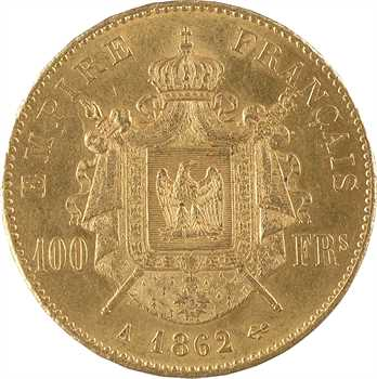 Second Empire, 100 francs tête laurée, 1862 Paris