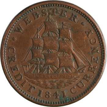 États-Unis, Hard Times Token, Daniel Webster, penny, 1841