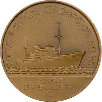 IVe République, Compagnie Maritime des Chargeurs Réunis, le paquebot Général Leclerc, par Fraisse, 1951 Paris