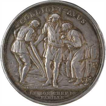 Convention, prix de la bonne mère et du bon chef de famille transformée en médaille de mariage, par Gatteaux, 1793 Paris