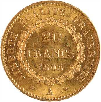 IIe République, 20 francs Génie, 1848 Paris
