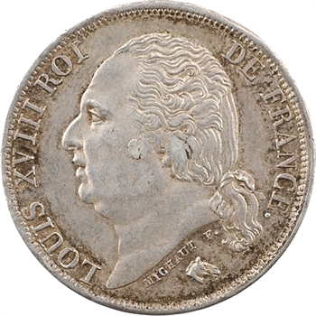 Louis XVIII, 1 franc, 1824 Paris