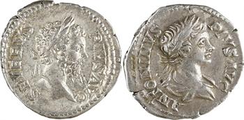 Septime Sévère et Caracalla, lot de 2 deniers au revers de Carthage, Rome, 201-210