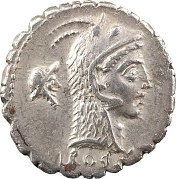 Roscia, denier serratus, Rome, 64 av. J.-C.