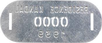 Indochine, Cambodge, Kandal (Résidence de), plaque de taxe n° 0000, 1939