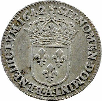 Louis XIII, douzième d'écu d'argent, 3e type (2e poinçon), 1642 Paris