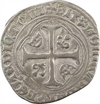 Louis XI, blanc à la couronne, coin fauté REVX, 2e émission, Troyes