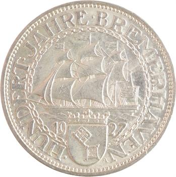 Allemagne (Empire d'), 5 reichsmark Bremerhaven, 1927 Berlin