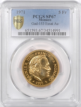 Monaco, Rainier III, essai de 5 francs en or, 1971 Paris, PCGS SP67
