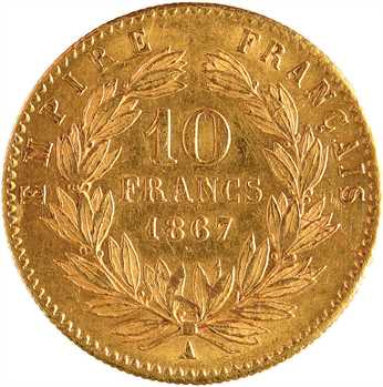 Second Empire, 10 francs tête laurée, 1867 Paris