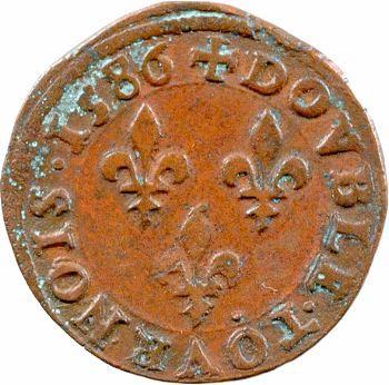 Henri III, double tournois, 1586 Poitiers