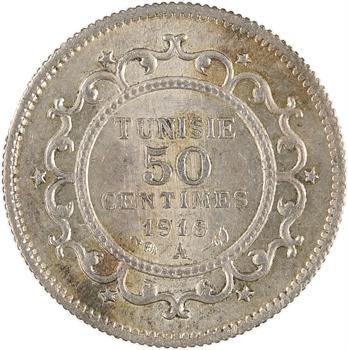 Tunisie, Protectorat français, Naceur, Bey, 50 centimes, 1916 Paris