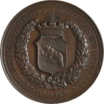 Suisse, 700e anniversaire de la fondation de Berne, par Homberg, 1191-1891