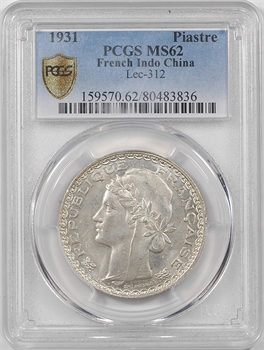 Indochine, 1 piastre, 1931 Paris, PCGS MS62