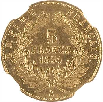 Second Empire, 5 francs tête nue, petit module, 1854 Paris, tranche striée, NGC MS62