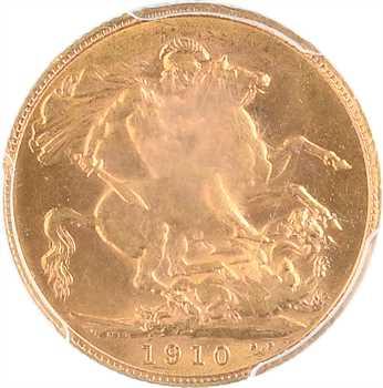 Royaume-Uni, Édouard VII, souverain, 1910 Londres, PCGS AU58
