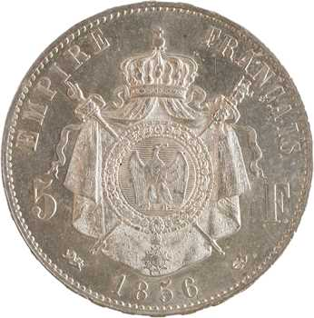 Second Empire, 5 francs tête nue, 1856 Lyon