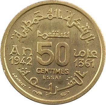 Maroc, Mohammed V, essai de 50 centimes, AH 1361 (1942) Paris