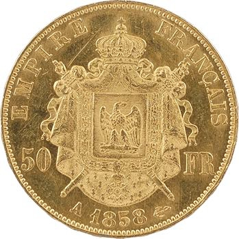 Second Empire, 50 francs tête nue, 1858 Paris