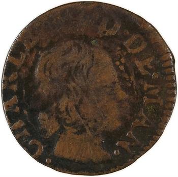 Ardennes, Charleville (principauté de), Charles II de Gonzague, denier tournois 3e type, 1654 Charleville