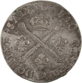 Louis XIV, pièce de vingt sols aux insignes, 1708 Rennes
