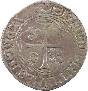 Charles VII, blanc à la couronne (étoile dans croissant fermé), cantonnement inversé, 1re émission, Châlons-en-Champagne