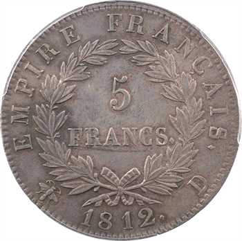 Premier Empire, 5 francs Empire, 1812 Lyon, PCGS AU55