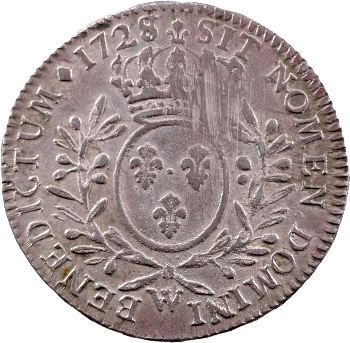 Louis XV, demi-écu aux rameaux d'olivier, 1728/7 Lille