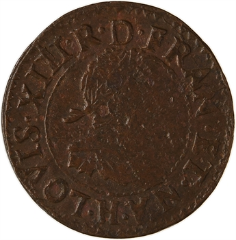 Louis XIII, double tournois 15e type, 1639 La Rochelle