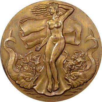 Pradeilhes (P.) : Amphitrite et son cortège marin, médaille uniface en taille directe, s.d. (1947) Paris