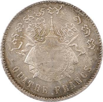Cambodge, Norodom Ier, quatre francs, 1860 Bruxelles, PCGS MS64