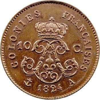 Louis XVIII, essai de 10 centimes pour les colonies, 1824 Paris