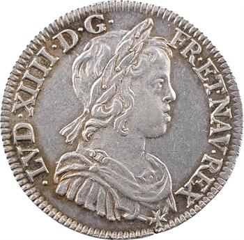 Louis XIV, quart d'écu à la mèche courte, 1644 Paris (point)