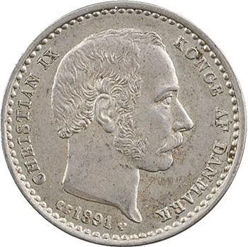 Danemark, Christian IX, 25 ore, 1891 Copenhague