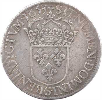 Louis XIV, écu à la mèche longue, 1653 Troyes