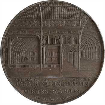 Second Empire, les galeries du Palais de l'industrie à l'Exposition Universelle de Paris, par Caqué et J. Wiener, en zinc, 1855 Paris