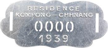 Indochine, Cambodge, Kompong-Chhnang, plaque de taxe n° 0000, 1939