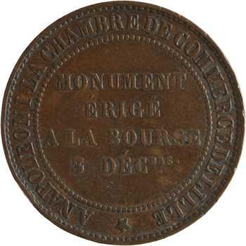 Second Empire, dix centimes tête nue, monument de la Bourse, 1854 Lille