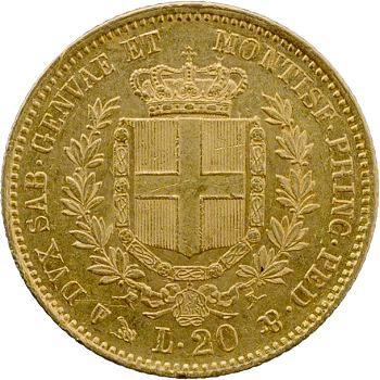 Italie, Victor-Emmanuel II, 20 lire, 1853 Gênes