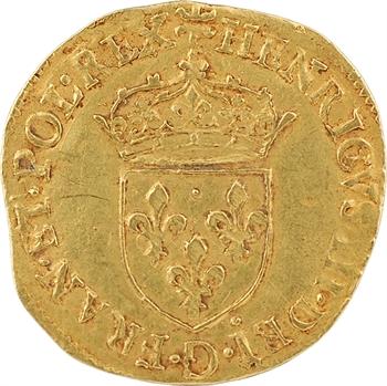 Henri III, écu d'or au soleil 1er type, 1578 Troyes
