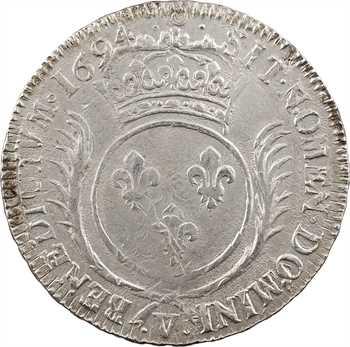 Louis XIV, écu aux palmes, 1694 Troyes
