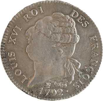 Constitution, écu de 6 livres FRANÇOIS, An 4, 1792 Limoges