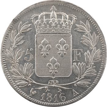 Louis XVIII, 5 francs buste nu, 1816 Paris