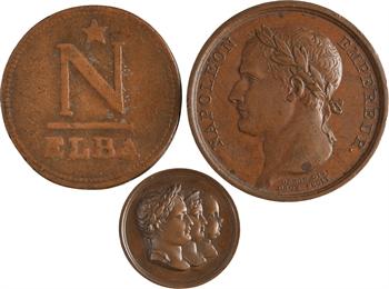 Les Cent-Jours, l'Ile d'Elbe et le retour de Napoléon, lot de 3 médaillettes, 1815