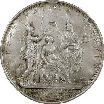 Le Tellier (Michel), cliché uniface du revers, 1684 Paris, frappe ancienne