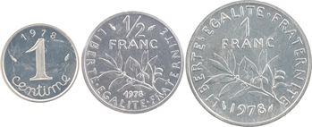 Ve République, lot de 3 piéforts, 1 c., 1/2 F. et 1 F., en argent, 1978 Pessac