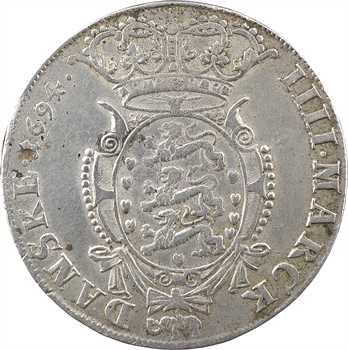 Danemark (royaume de), Christian V, 4 mark (couronne), 1694 Glückstadt