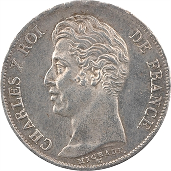 Charles X, 1 franc, matrice à cinq feuilles, 1828 Nantes