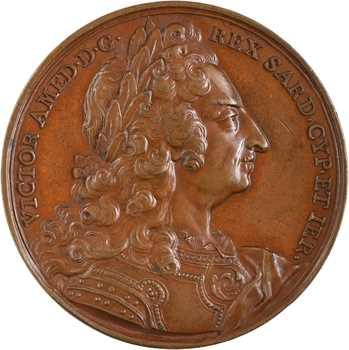Italie, Savoie-Sardaigne, Victor Amédée II de Savoie, Roi de Sicile et de Sardaigne, par Dassier, s.d. (1718)