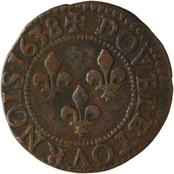 Louis XIII, double tournois 14e type, 1638 Tours